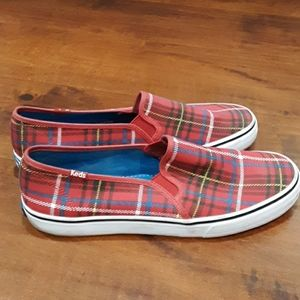 KEDS SNEAKERS RED PLAID SIZE 10